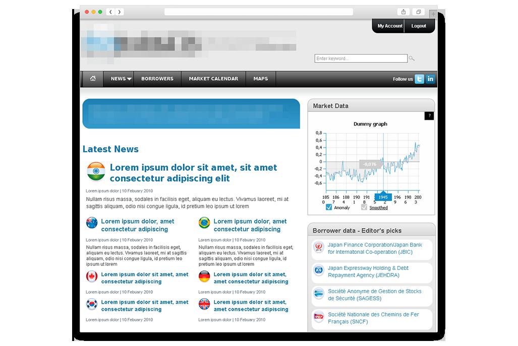 Financial news portal screenshot