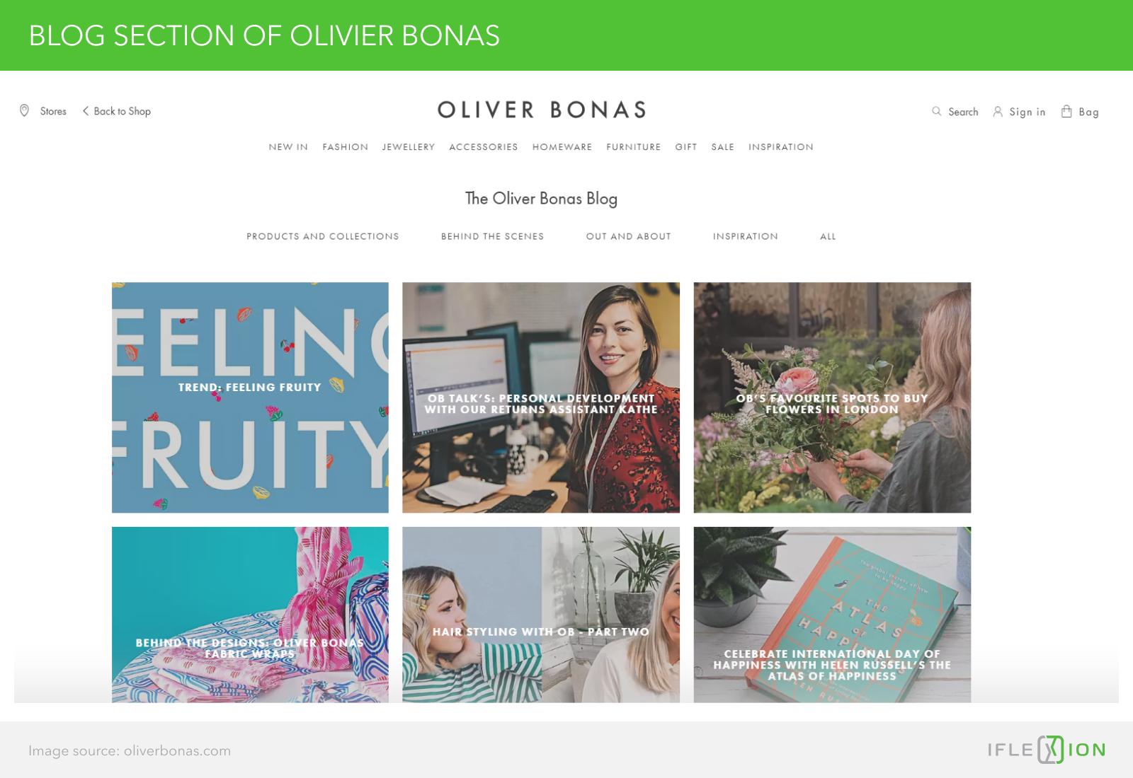 Blog section of Oliver Bonas