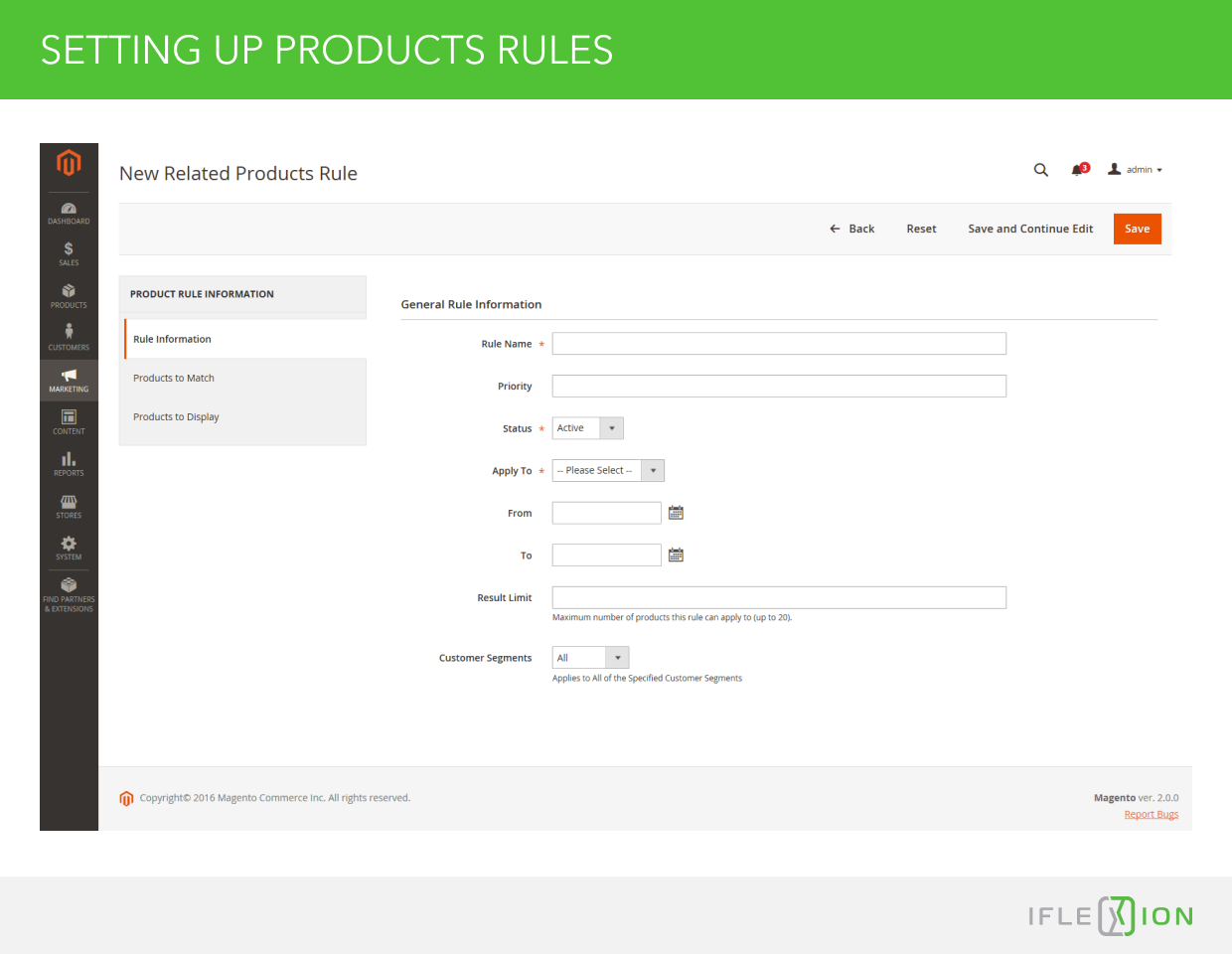 Setting up Products Rules